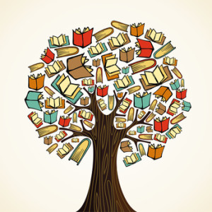 Global education concept tree made books. Vector file layered for easy manipulation and custom coloring.